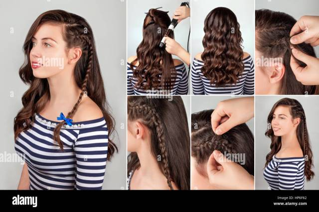 one-side hairstyle on curly hair tutorial. hairstyle for