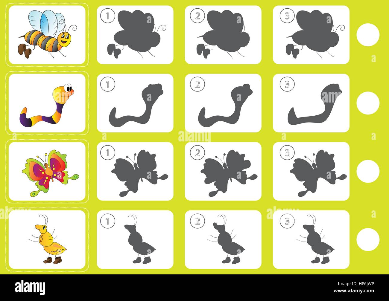 Match Shadow Puzzle Worksheet Kids Stock Vector Images
