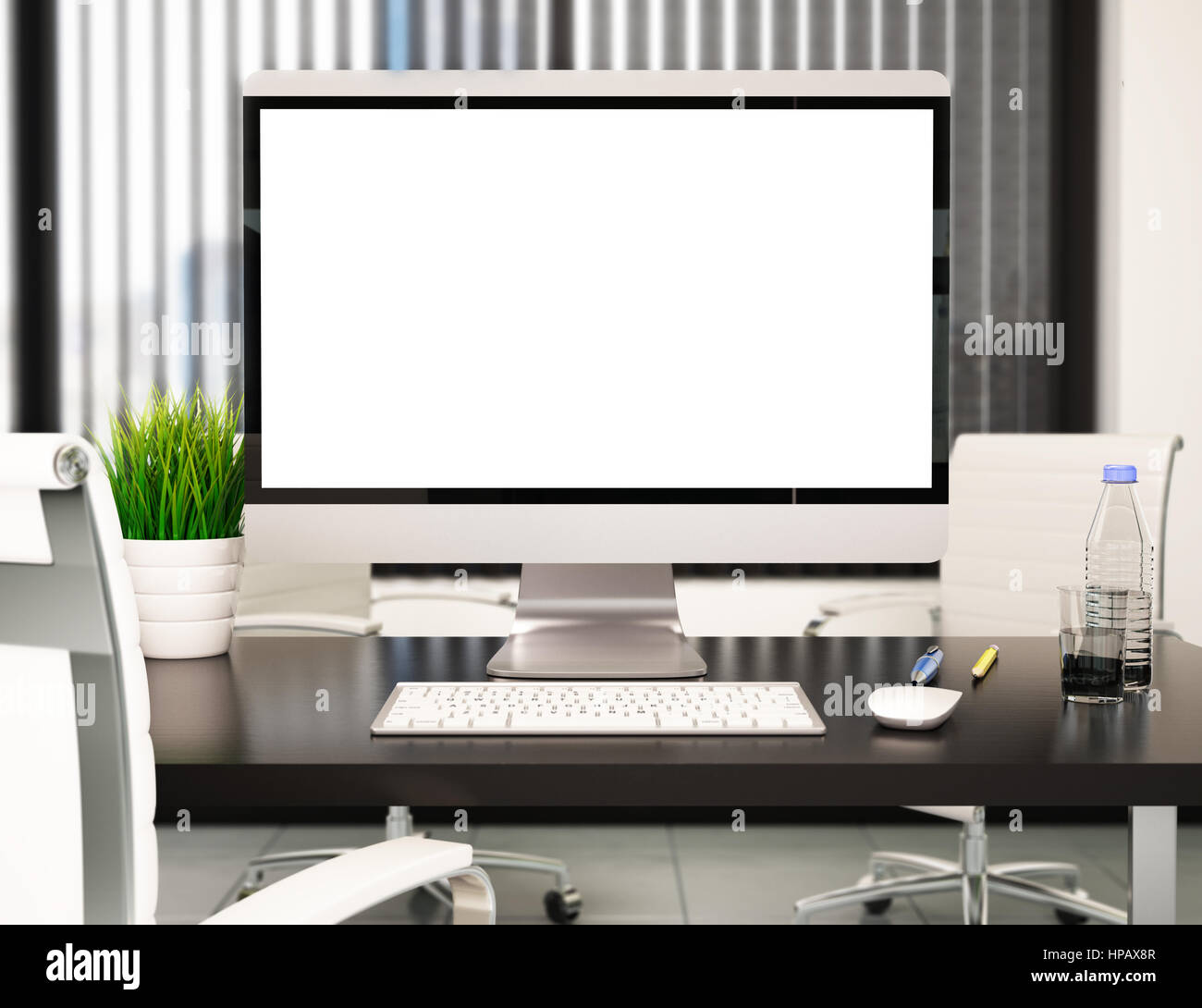 3d Illustration Modern Office With Blank Computer Screen Mockup