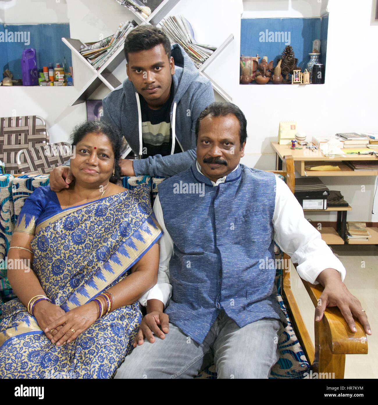 Modern Indian Nuclear Family Stock Photo