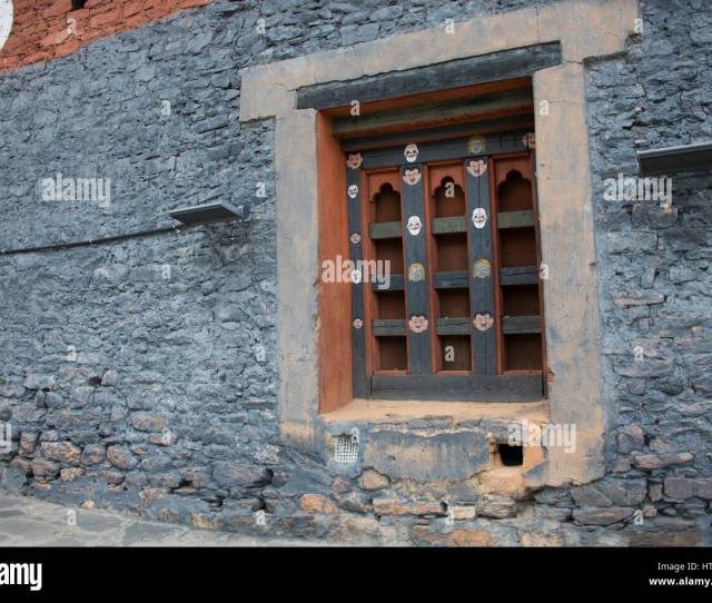 Bhutan Thimphu Chong Gia Ca Temple Detail Of Traditional Bhutanese Architecture Painted