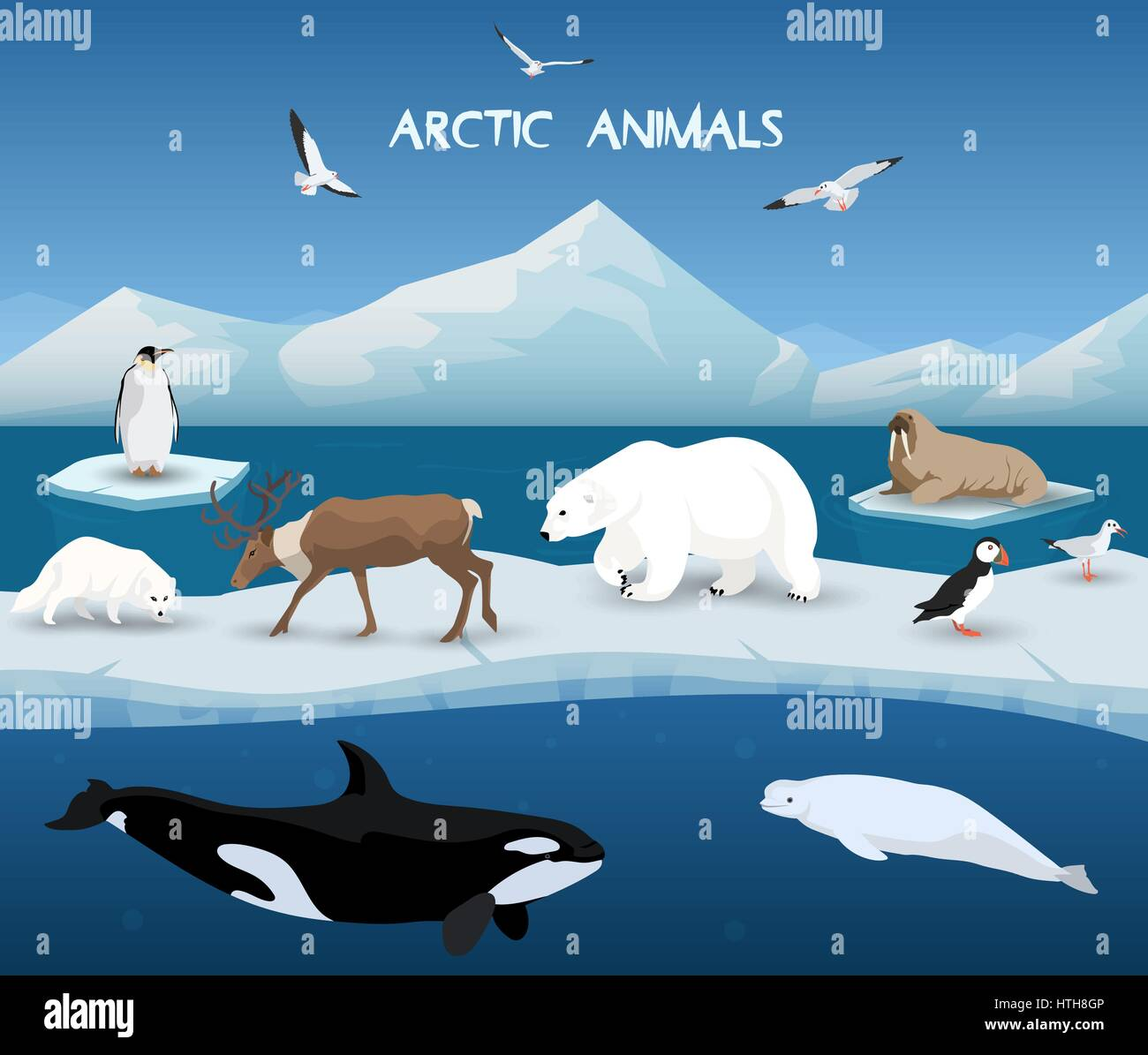 Arctic Animals Character And Background Winter Nature Travel And Stock Vector Art