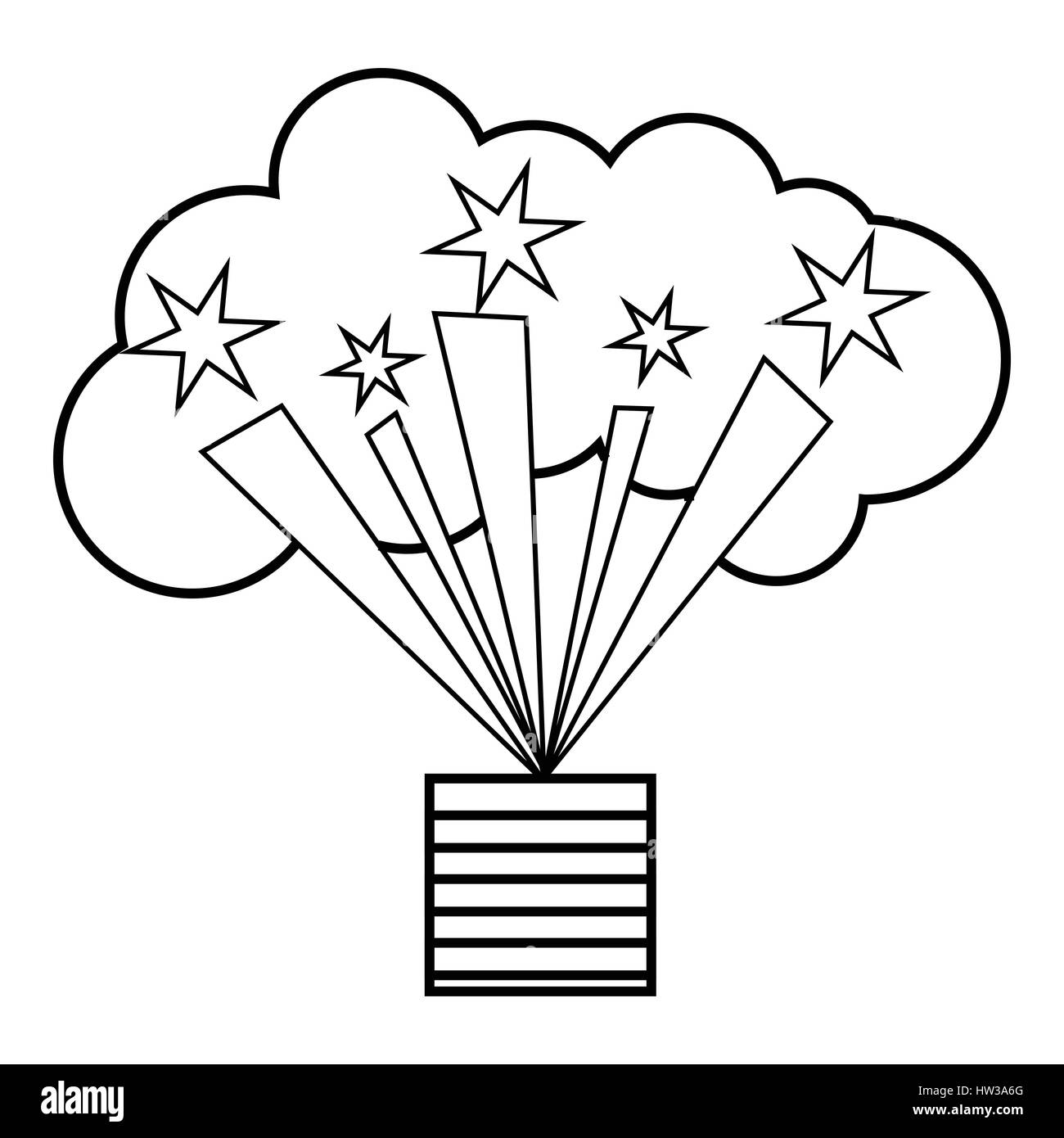 Bright firework icon outline style stock image