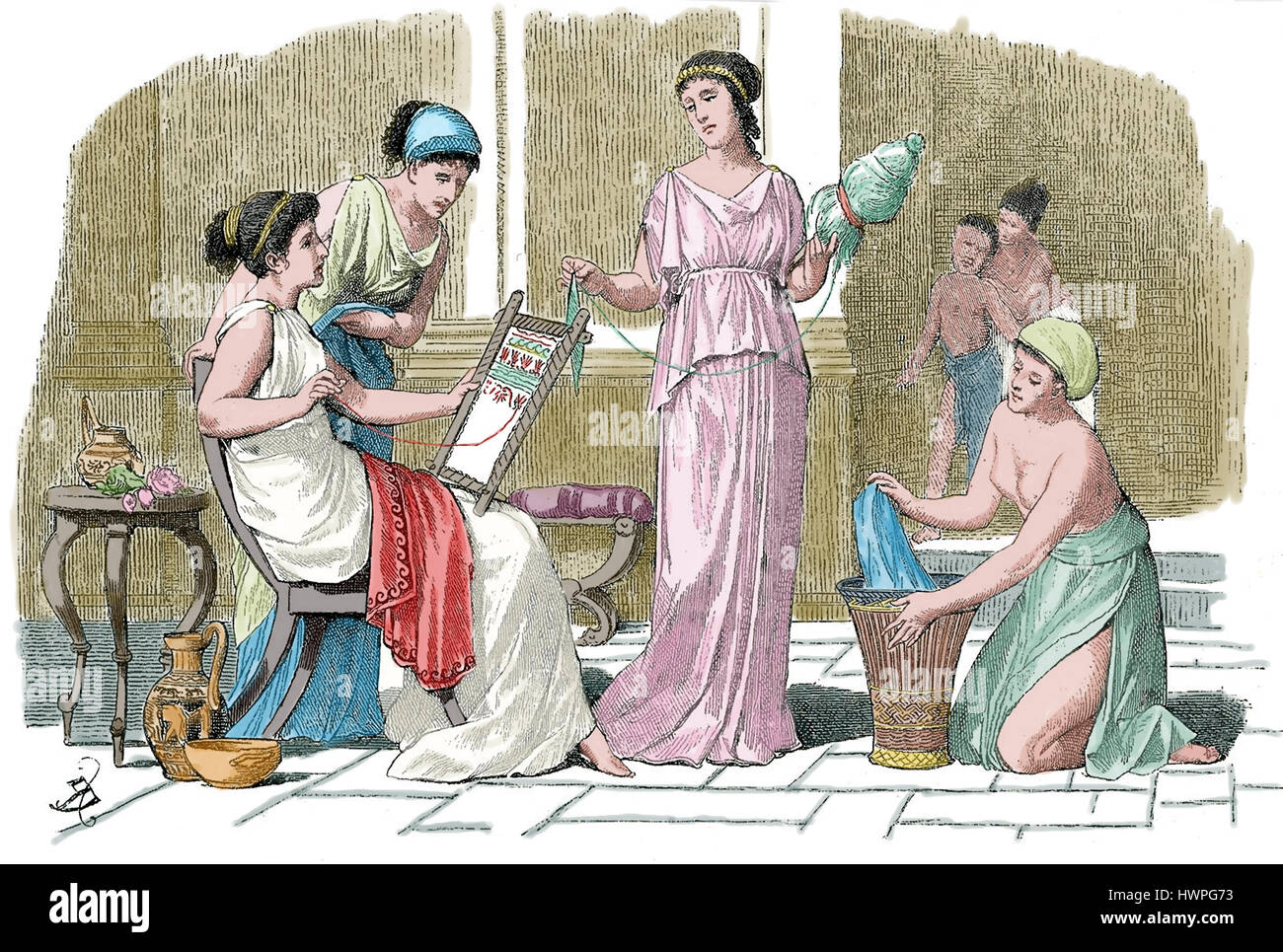 Ancient Greece Engraving Of Athenian Women At Home