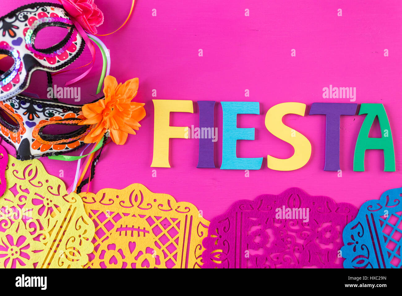 Word Fiesta On A Bright Painted Wood Background Stock