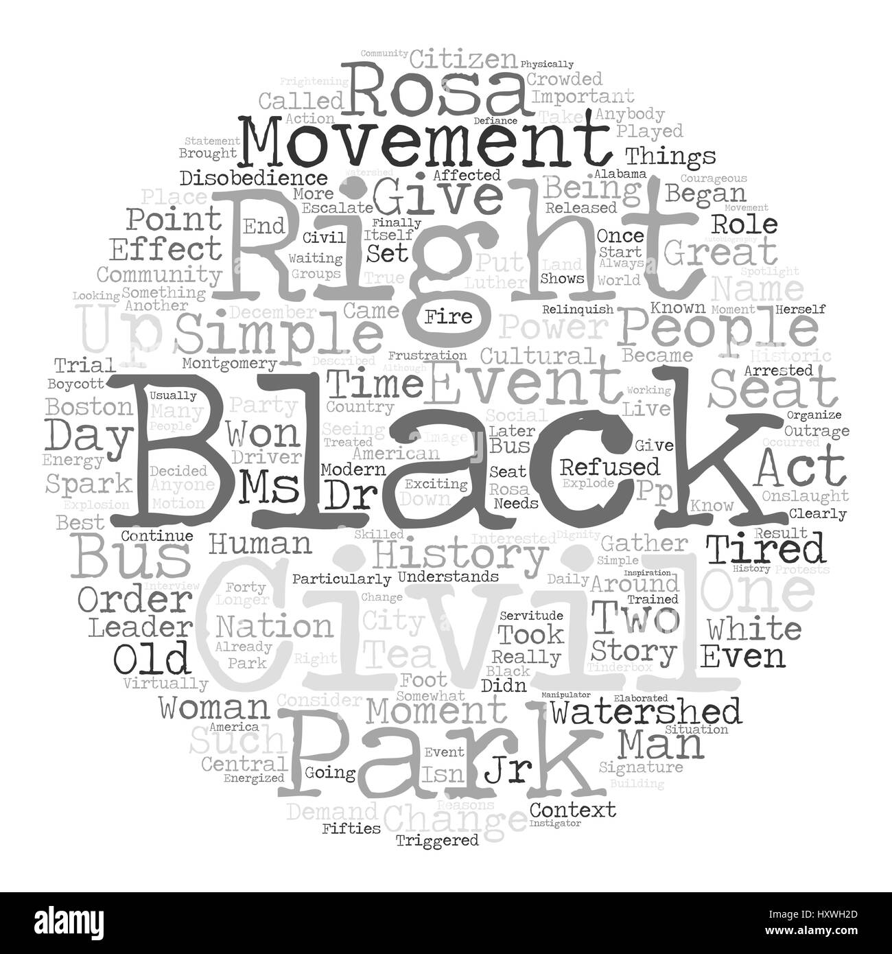 Rosa Parks Text Background Word Cloud Concept Stock Vector