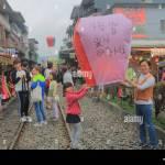 People Fly Sky Lantern In Shifen Town In Taipei Taiwan Shifen Is An Stock Photo Alamy