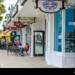 A Sidewalk View Of Retail Storefronts And Restaurants With Patio Stock Photo Alamy