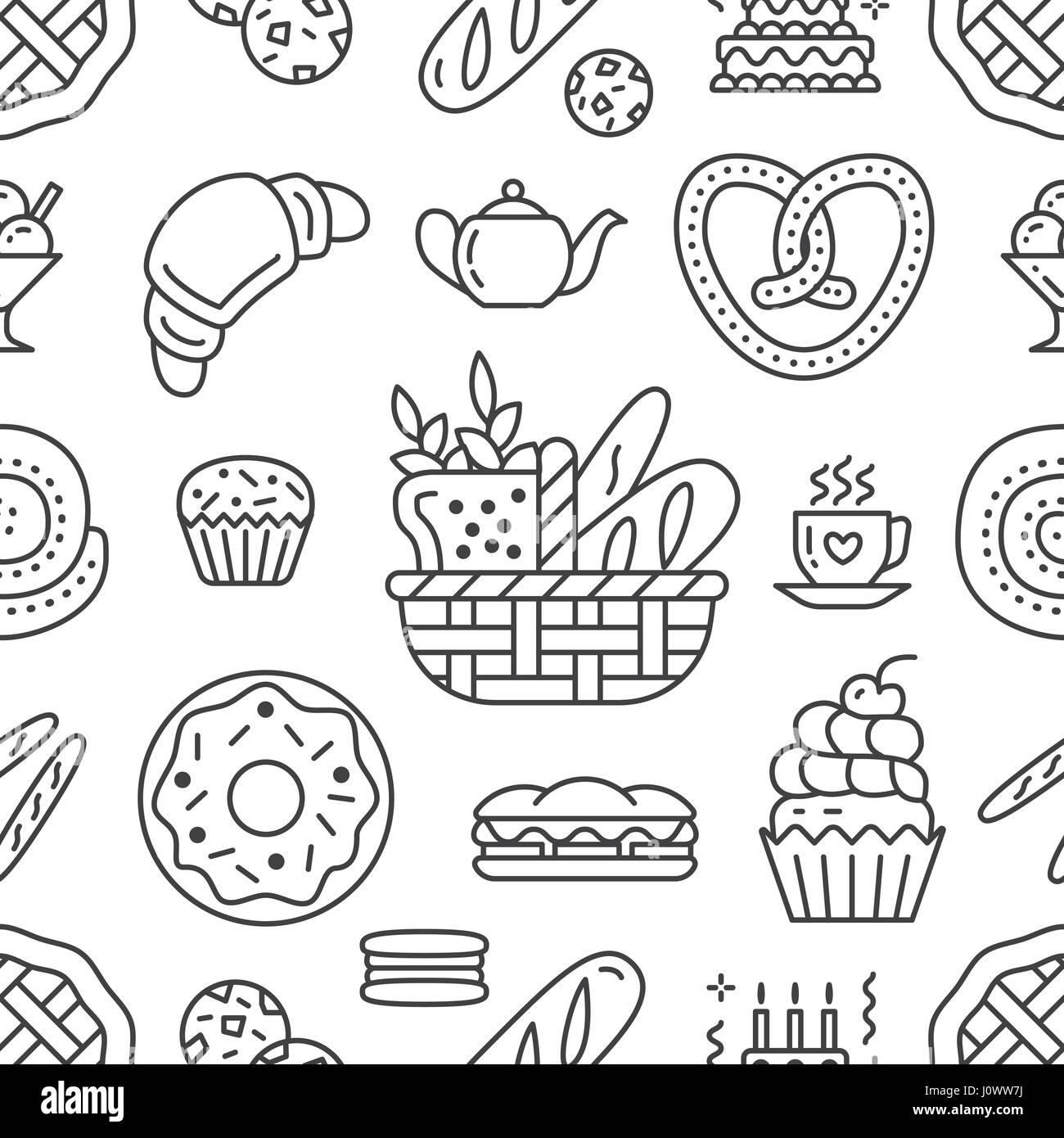 Bakery Seamless Pattern Food Vector Background Of Black