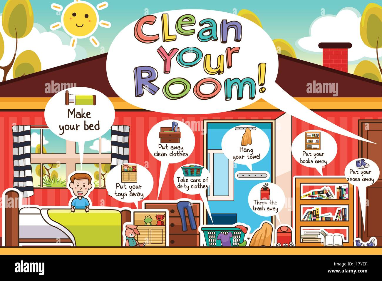 A Vector Illustration Of Kids Cleaning Room Chores