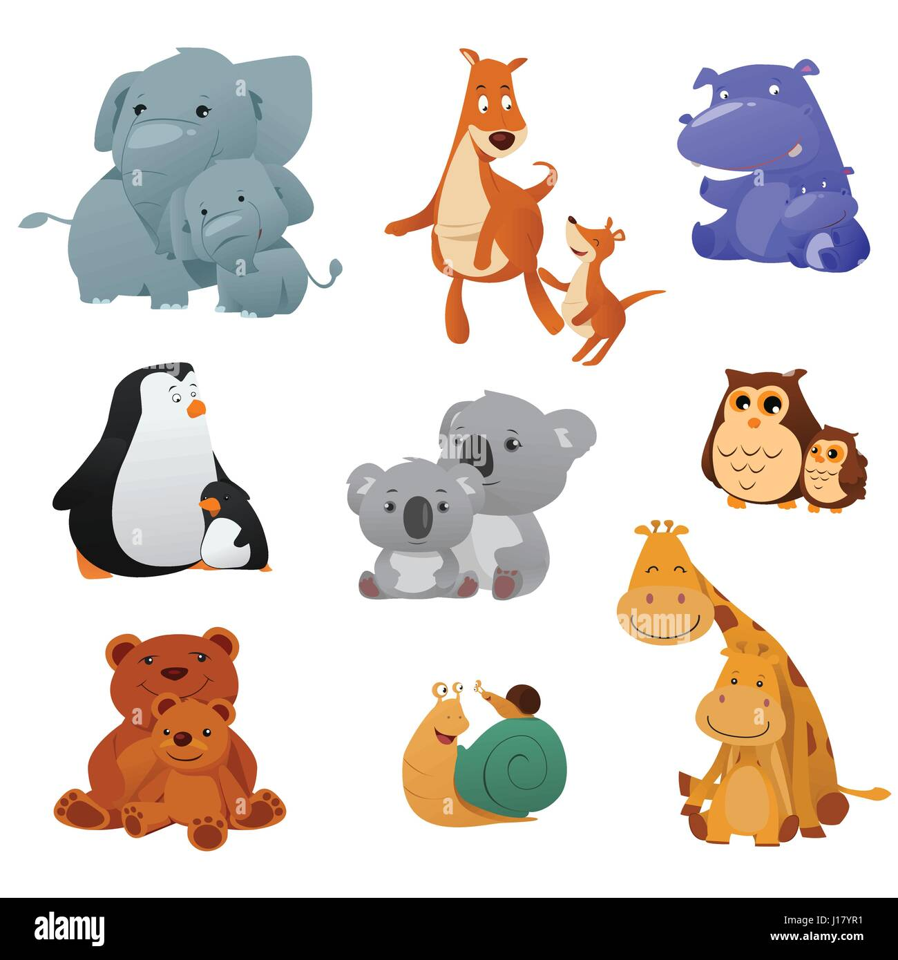 A Vector Illustration Of Wild Animals And Their Young Baby