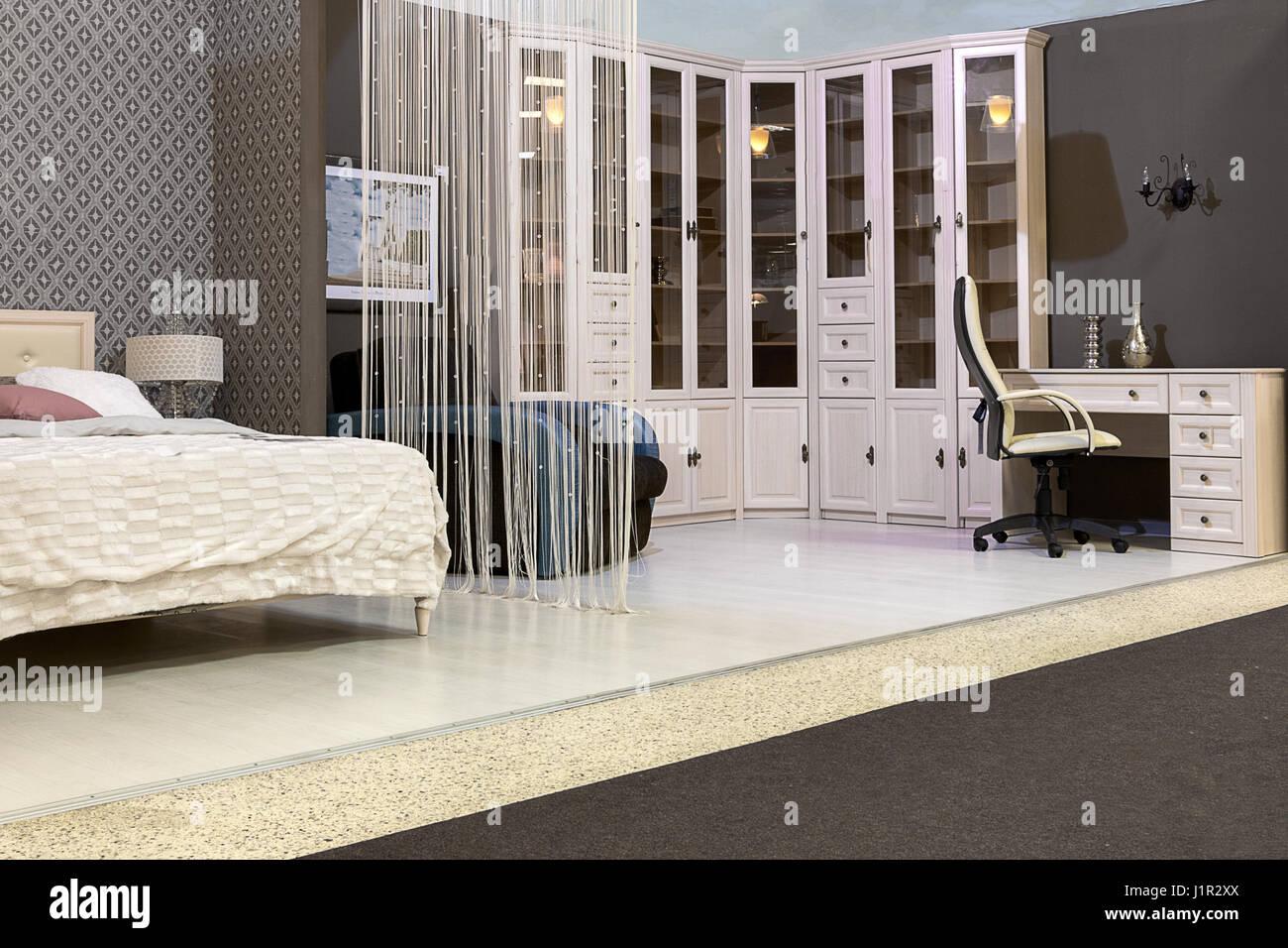 Ottimo rapporto qualita' prezzo prodotto made. Bedroom With A Bed A Wardrobe Desk And Chair Stock Photo Alamy