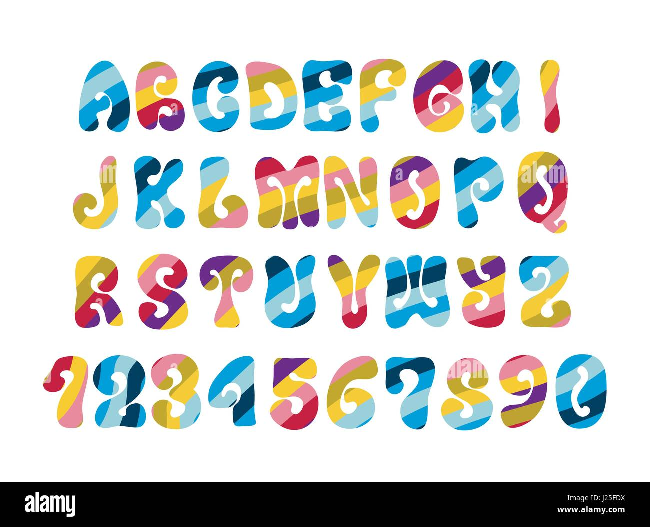 Psychedelic Font With Colorful Pattern Vintage Hippie