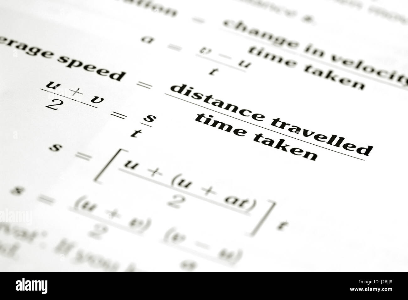 Math Equation Calculating Average Speed Of Distance Over Time Stock Photo