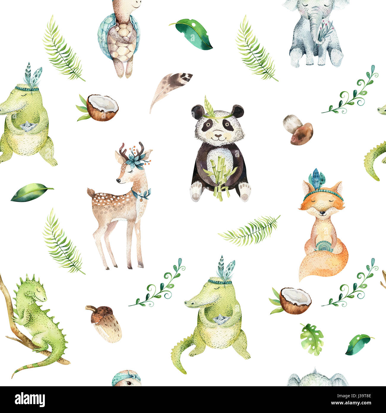Baby Animals Nursery Isolated Seamless Pattern Watercolor Boho Stock Photo