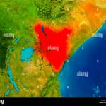 Kenya Highlighted In Red On Physical Map 3d Illustration Elements Stock Photo Alamy