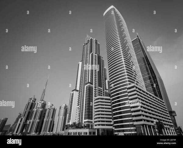 Dubai Skyline Black and White Stock Photos & Images - Alamy