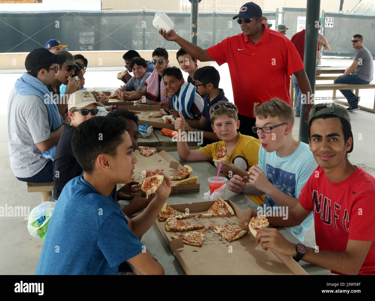 Boy Scouts Of Troop 965 Kuwait Eat Pizza Before The Start