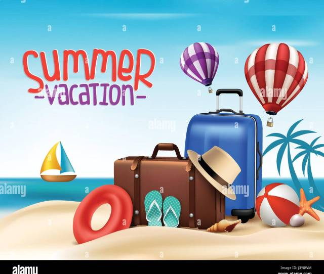 Summer Vacation Vector Background Design With Summer Elements And Flying Hot Air Balloon In The Blue Sky Vector Illustration