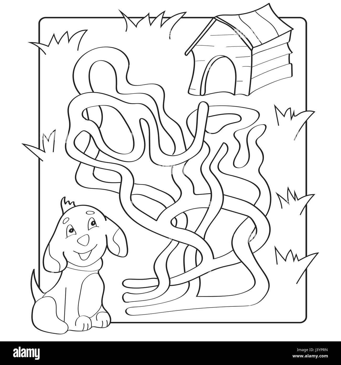 Help Puppy Find Path To His House Labyrinth Maze Game For Kids Stock Vector Art Amp Illustration