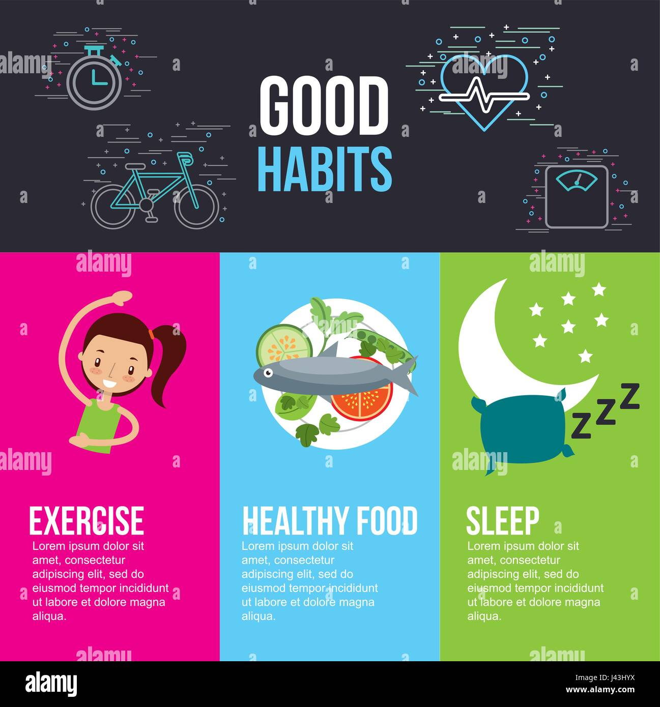 Good Habits Exercise Healthy Food Sleep Lettering With