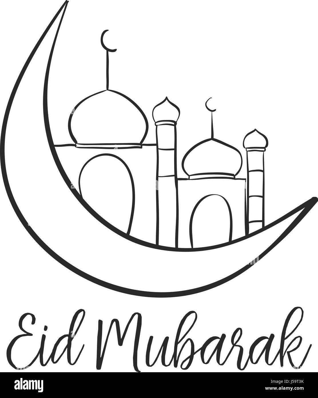 Card Eid Mubarak With Mosque Stock Vector Art