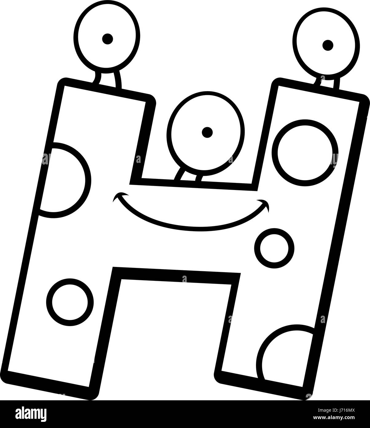 A Cartoon Illustration Of A Letter H Monster Smiling And