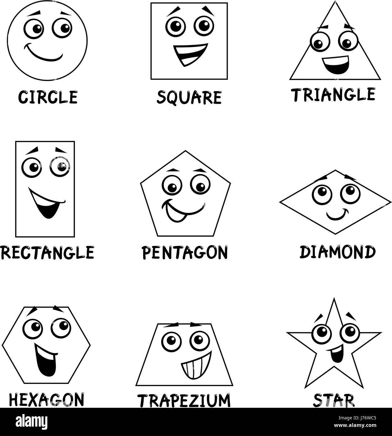 Black And White Cartoon Illustration Of Basic Geometric Shapes Funny Stock Vector Art