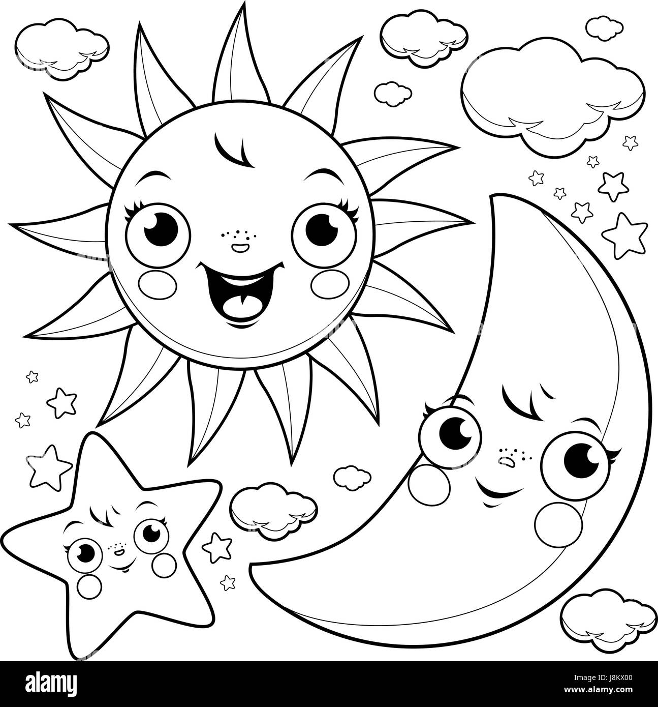 Sun Moon And Stars Coloring Page Stock Vector Art