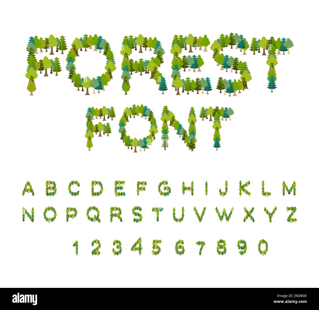 Forest Font Tree Alphabet Letter From Tree Nature
