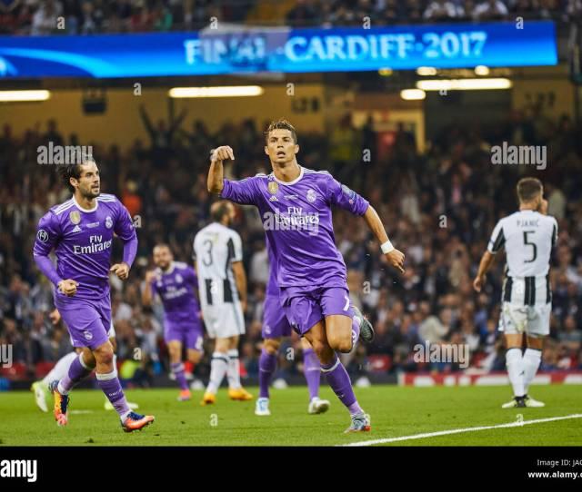 Uefa Champions League Final Cardiff June   Cristiano Ronaldo Real Madrid  Celebrates His   Goal Real Madrid Juventus Turin   Footbal