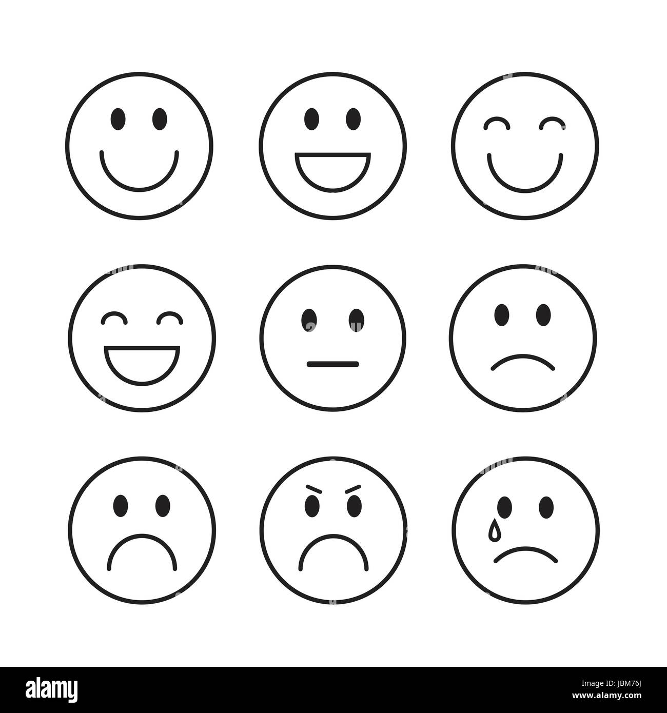 Smiling Cartoon Face People Emotion Icon Set Stock Vector