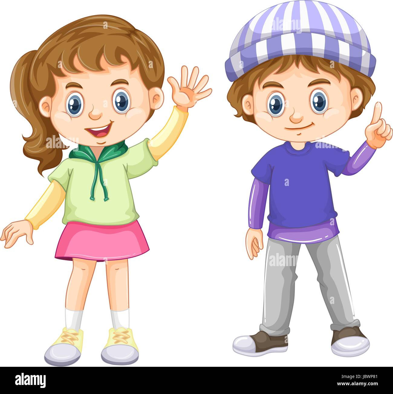 Cute Boy And Girl With Happy Face Illustration Stock