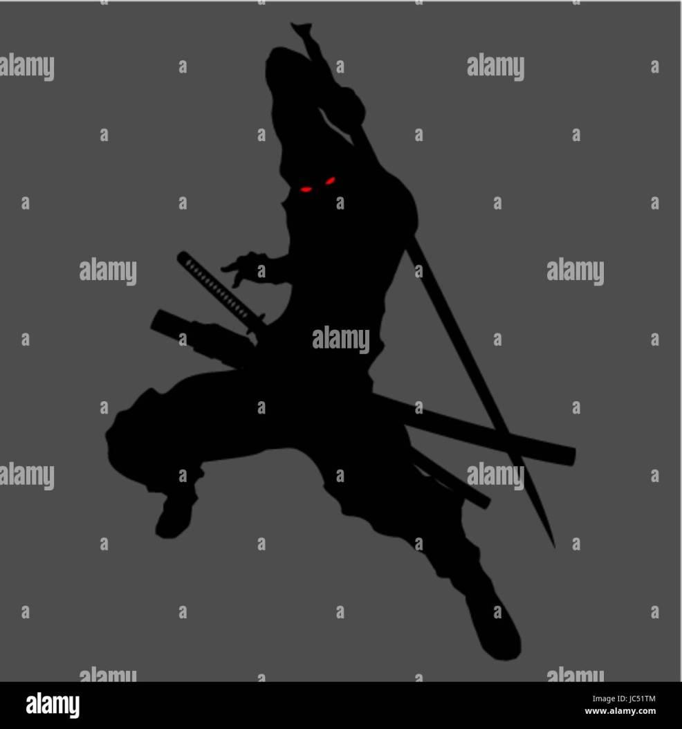 Ninja Samurai Assassin Shadow Shinobi Silhouette Katana Sword Weapon
