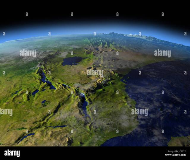 Great Lakes Of Africa From Earths Orbit In Space D Illustration With Detailed Planet Surface
