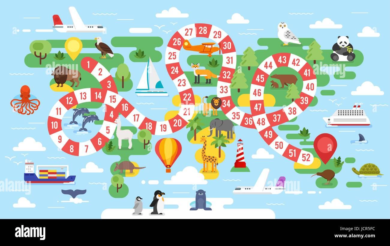 Vector Flat Style Illustration Of Kids World Tour Board