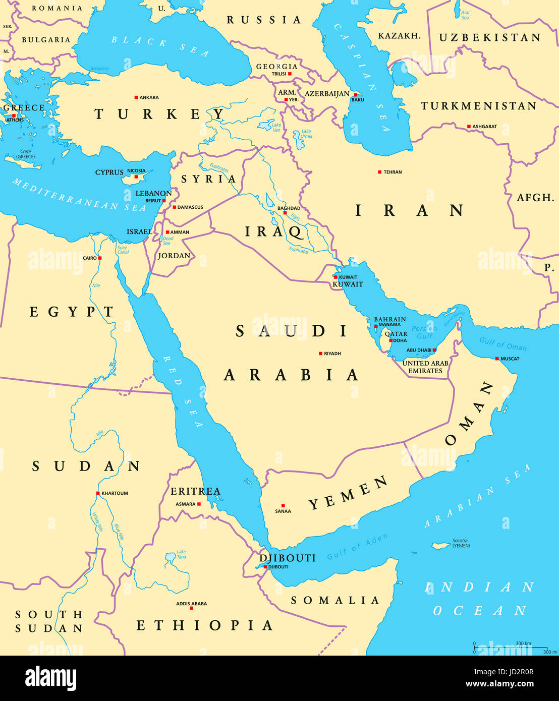 Middle East Political Map With Capitals And National