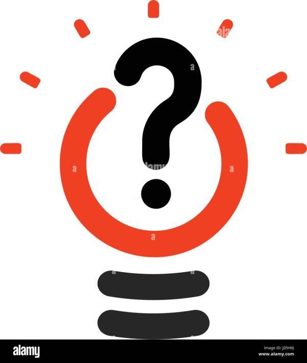 New question mark symbol, flat bright cartoon bulb. White ...