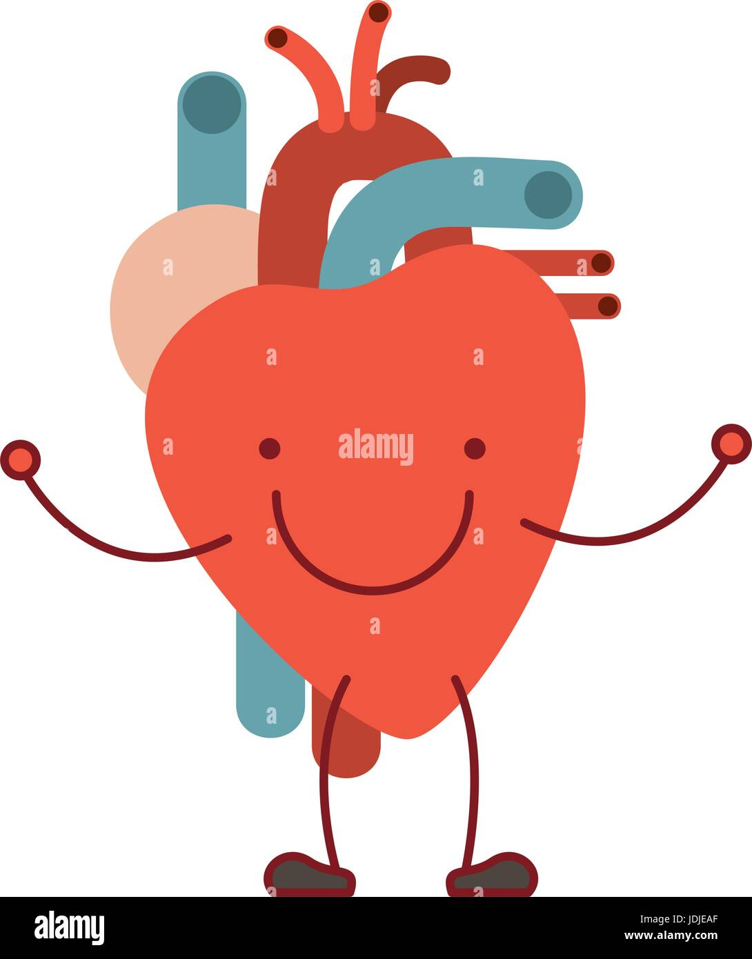 Colorful Silhouette Caricature With Happy Face Circulatory