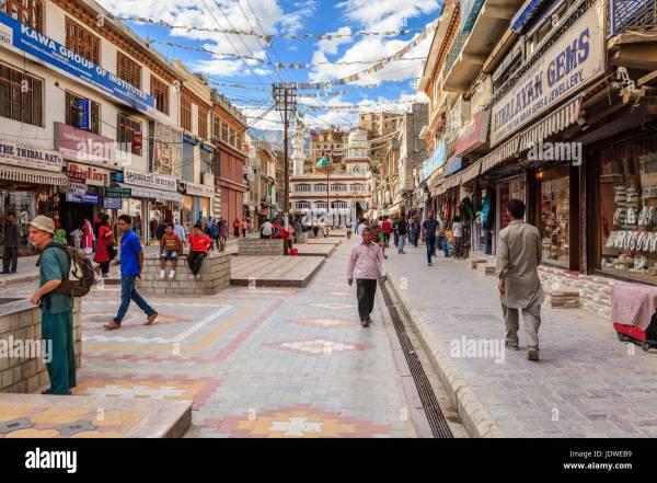 Leh, Ladakh, India, July 12, 2016: main shopping street in ...