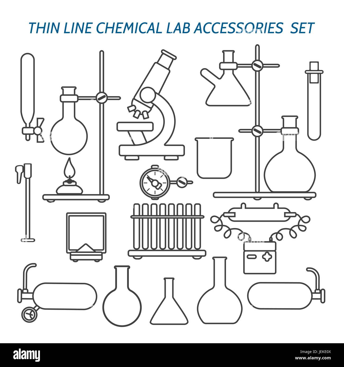 Thin Line Chemical Lab Equipment And Accessories Set Biology Science Stock Vector Art