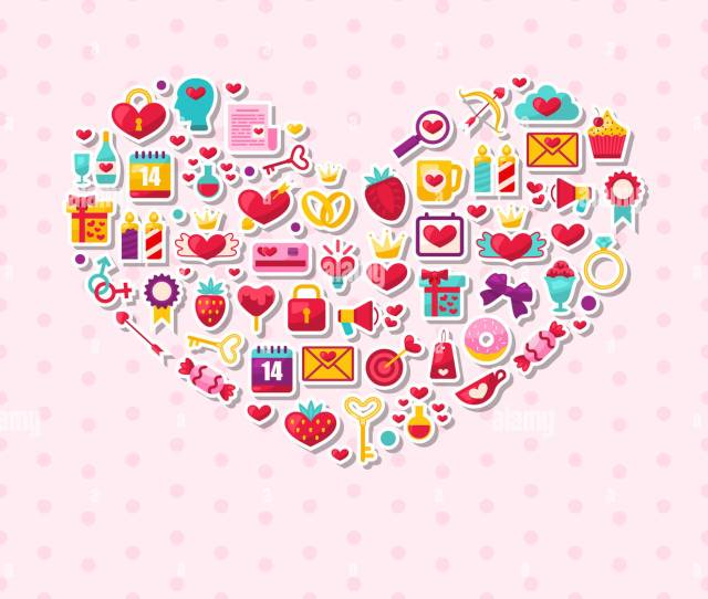 Illustration Collection Of Modern Flat Design Icons For Happy Valentines Day Romantic Symbols Arranged In Form Of Heart