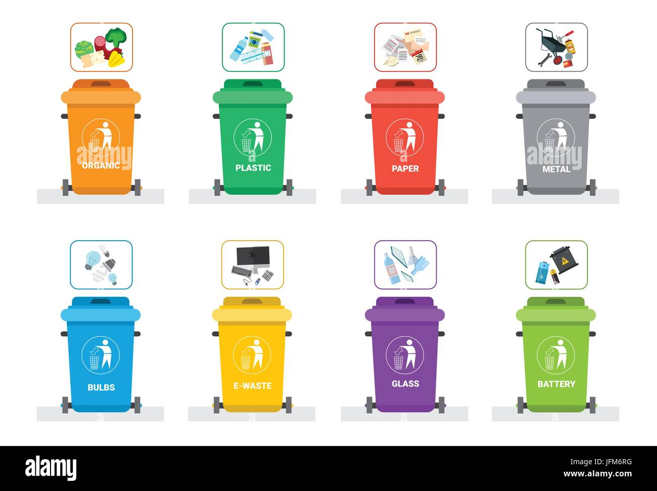 Rubbish Container For Sorting Waste Icon Set Recycle