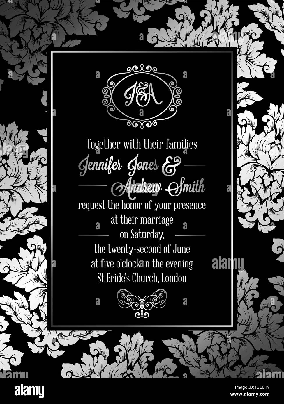 https www alamy com stock photo vintage baroque style wedding invitation card template elegant formal 147880207 html