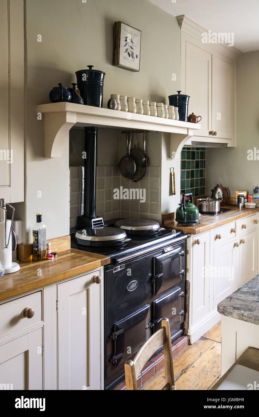 An Aga stove in a British country kitchen Stock Photo: 147965589 - Alamy