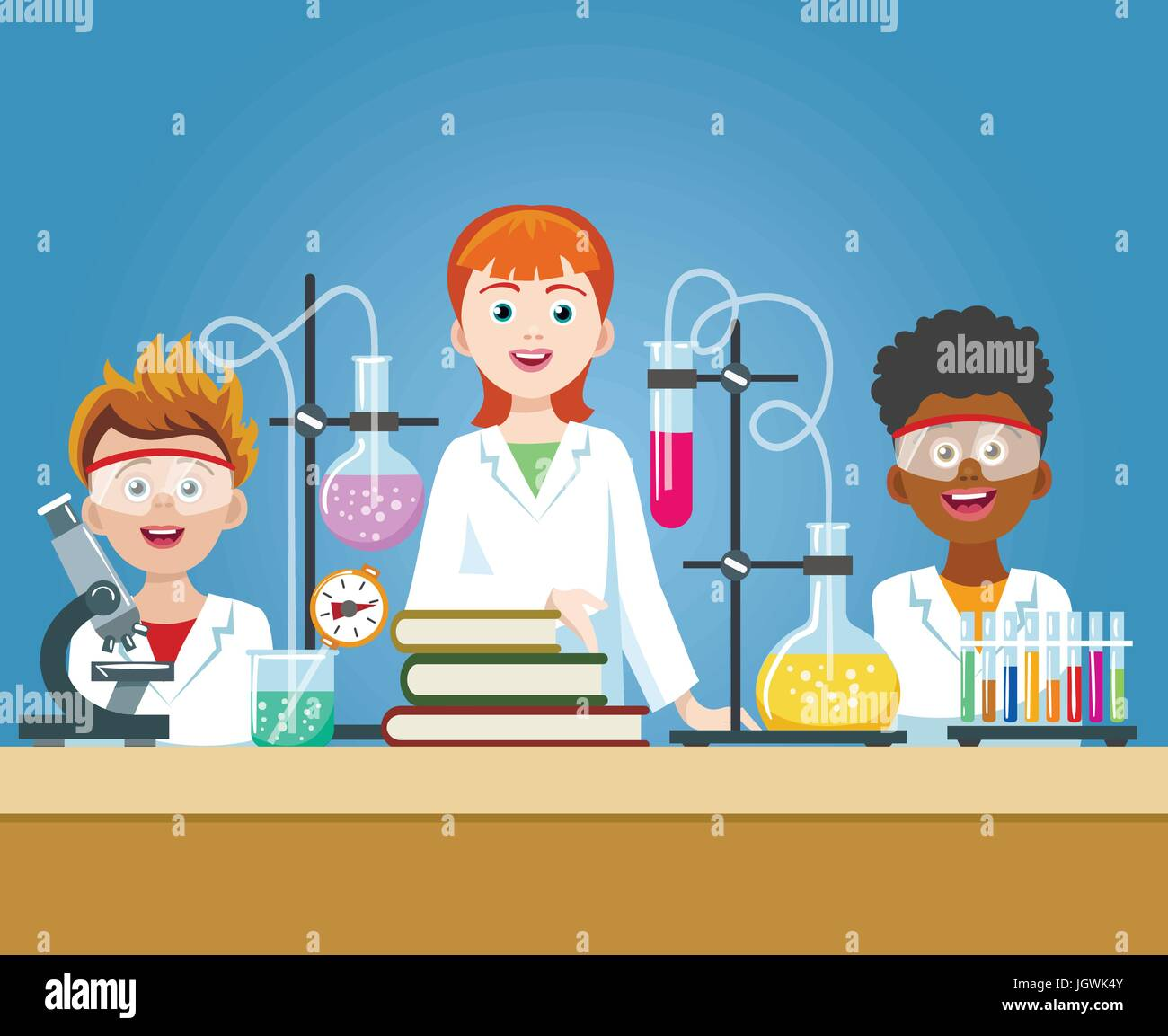 Pupils In Chemistry Lab School Science Class Laboratory With Kids In Stock Vector Art