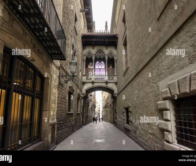 Bishops Bridge Gothic Quarter Barcelona Spain
