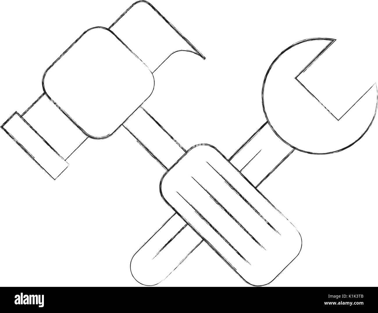 Hammer and wrench icon stock image