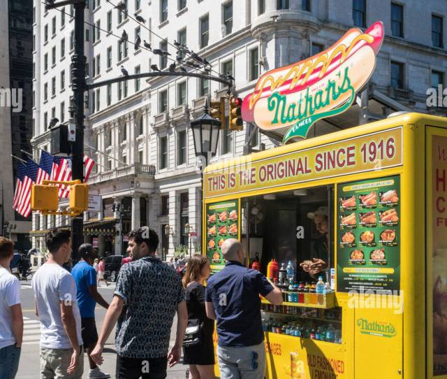 Nathans Famous Hot Dogs Crinkle Cut French Fries Food Cart Nyc Usa
