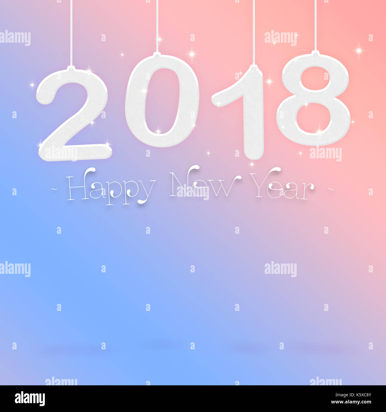 2018 Happy new year white color hanging at pastel pink gradient to     2018 Happy new year white color hanging at pastel pink gradient to blue  studio room Hoilday greeting card Mock up for display or montage of product   3